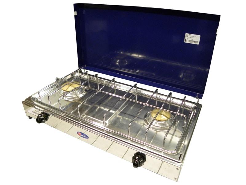 Deuxième marchandise-Parker CAMPING réchaud 2-brûleur Gris//Inox avec couvercle